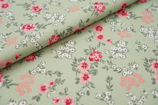 Interlock Jersey Blumen hellgrün / grün / weiß / rosa / lachs / rot