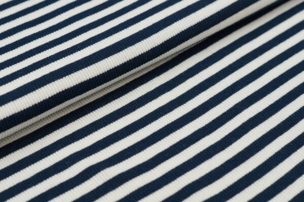 Ringelbündchen Marie gerippt navy blau / off white Streifen