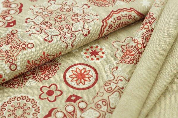 Dekostoff in Leinenoptik natur mit Mandala Muster in rot / weiß