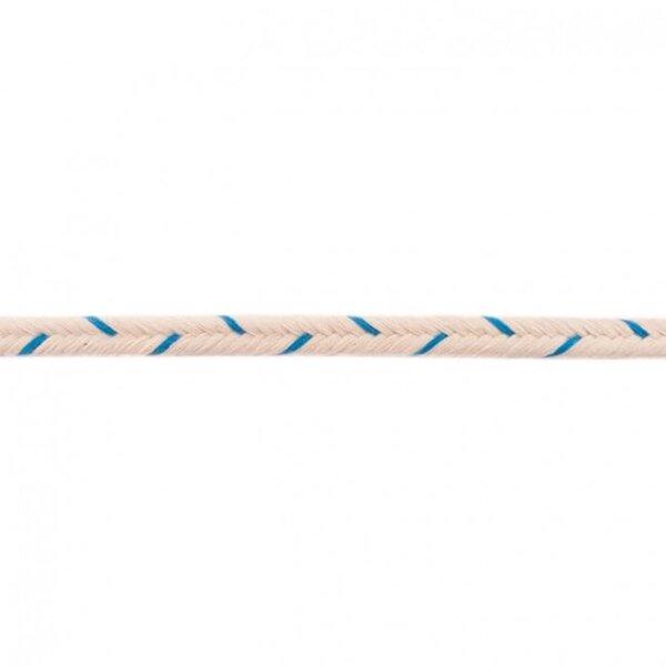 Doppelte Baumwoll-Kordel Fischgrät ecru / aqua blau 10 mm breit