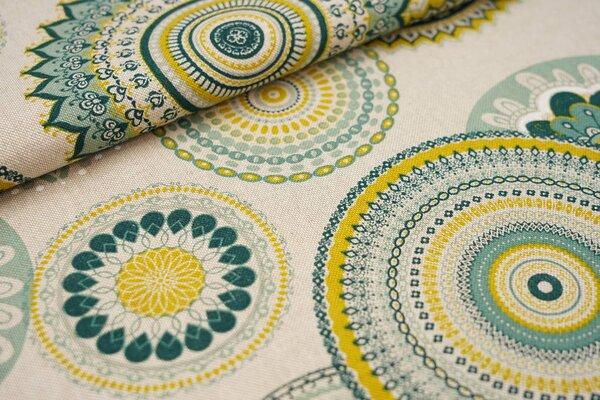 Canvas-Stoff Dekostoff in Leinenoptik Mandala Muster natur / grün / senf / weiß