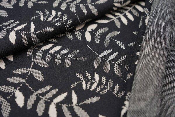 Jacquard-Sweat Ben off white Blätter Muster auf schwarz