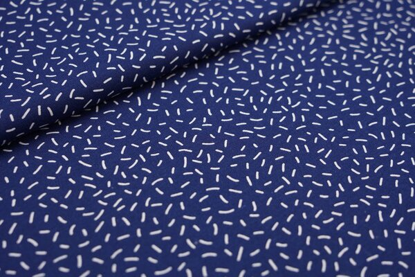 Interlock Jersey weiße Streusel Striche auf dunkelblau