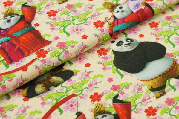 Jersey Kung Fu Panda Pandabären Blumen Digitaldruck pastell rosa