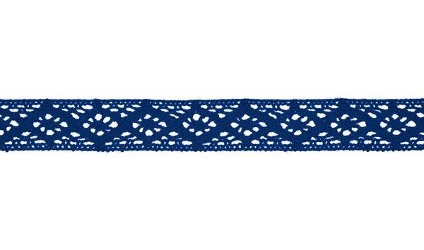 Baumwolle Spitzenborte Häkelborte uni kobaldblau 20 mm breit Klöppelspitze