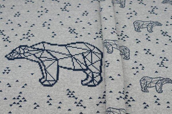 Panel Jacquard-Sweat Mia navy blaue Eisbären Dreiecke auf grau melange Rapport