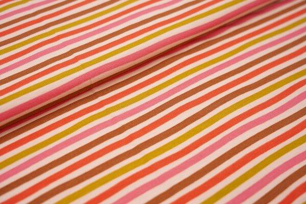 Baumwoll-Jersey mehrfarbige Streifen Ringel lachs / braun / koralle rosa / olivgelb / hellrot