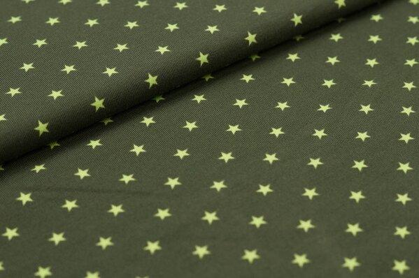Baumwoll-Jersey kleine Sterne dunkel khaki / limettengrün