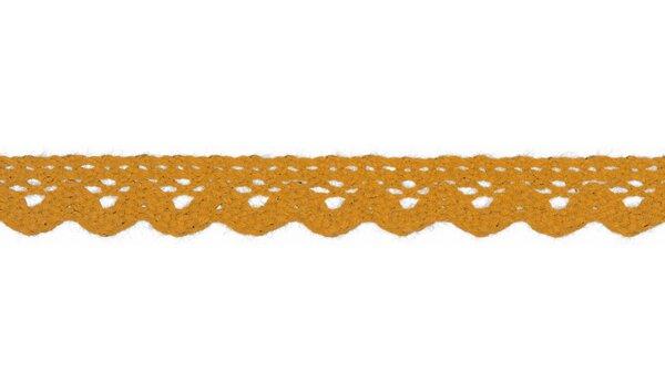 Baumwolle Spitzenborte Häkelborte uni senfgelb 15 mm breit Klöppelspitze