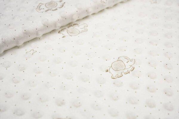 Minky Bubble Fleece-Stoff Noppen Elefanten und Punkte auf creme