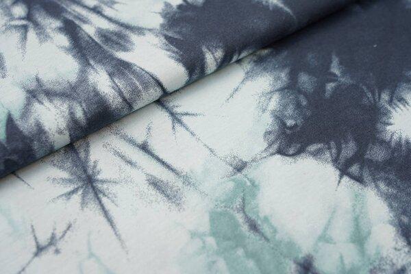Sommer T-Shirt-Stoff / leichter Jersey Batik-Design dunkelgrau / mint