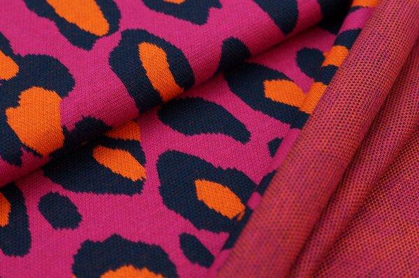 Jacquard-Sweat Ben mit XXL Leoparden Muster amarant pink / navy blau / orange