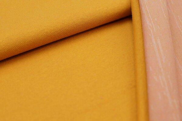 Jacquard-Sweat Ben senf Uni mit senf off white und koralle Rückseite