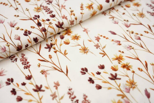 Digitaldruck Baumwoll-Jersey Aquarell Gräserwiese cremeweiß / rotbraun / orange