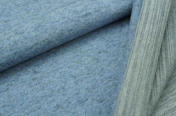 Kuschel Jacquard-Sweat Max pastell jeansblau / grau Melange Uni