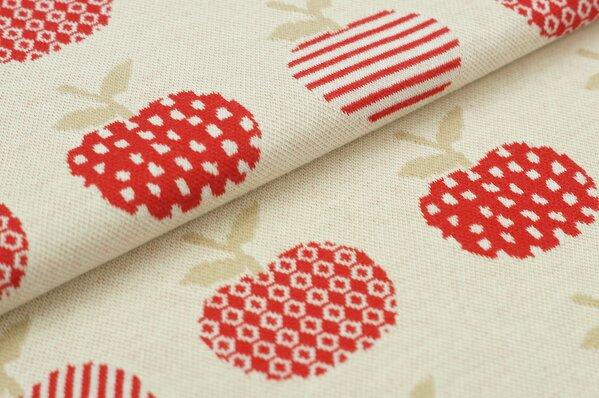 Jacquard-Sweat Ben beige / rote Äpfel Apfel auf off white