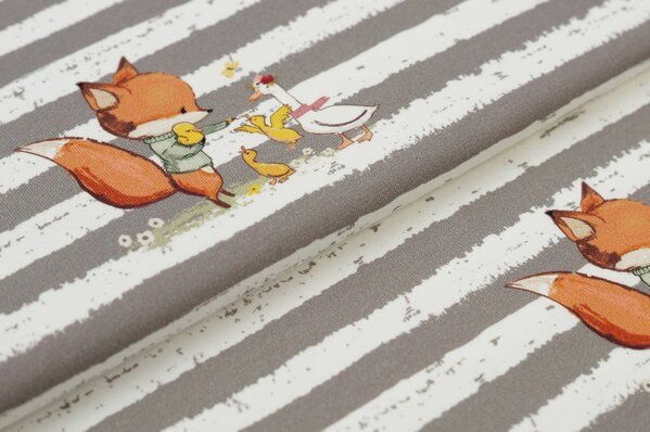 Traumbeere Baumwoll-Jersey Digitaldruck Fuchs & Gans / Streifen schlamm / off white