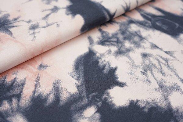 Sommer T-Shirt-Stoff / leichter Jersey Batik-Design dunkelgrau / lachs
