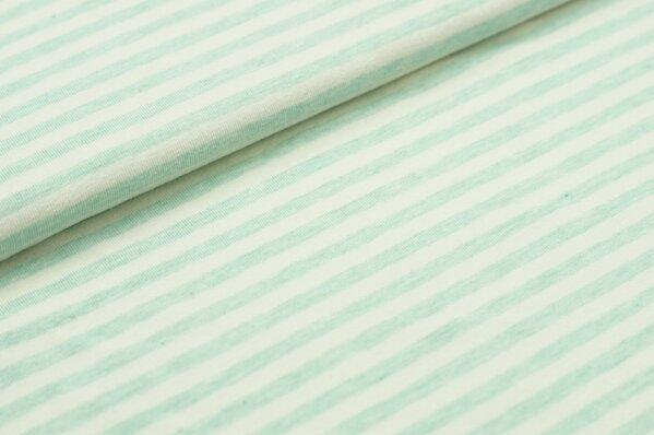 XXL Jersey Maya Streifen Ringel schmal pastell mint melange / off white