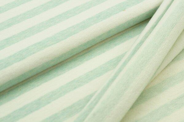XXL Baumwollsweat Maya Melange Streifen breit pastell mint und off white