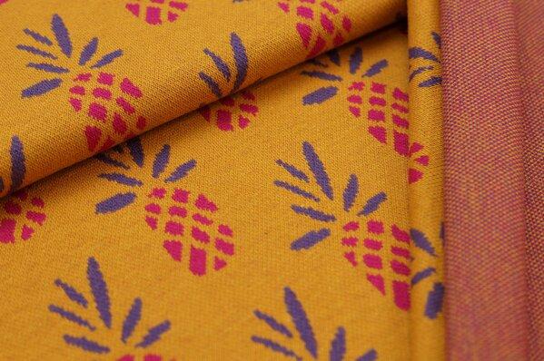Jacquard-Sweat Ben Ananas senf / amarant pink / lila