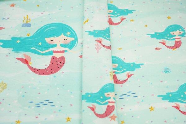 Panel Baumwoll-Jersey Meerjungfrau und Fische auf mint Digitaldruck