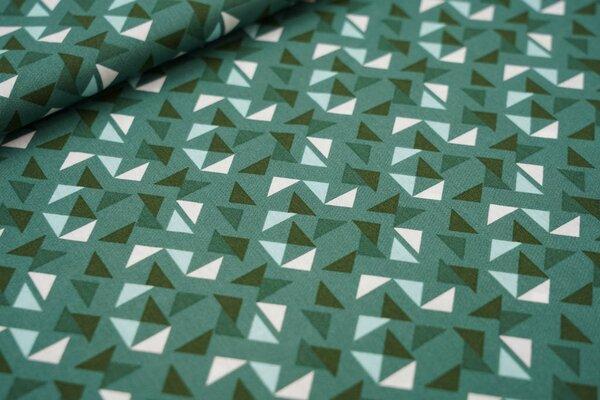 Baumwollstoff Dreiecke auf grün