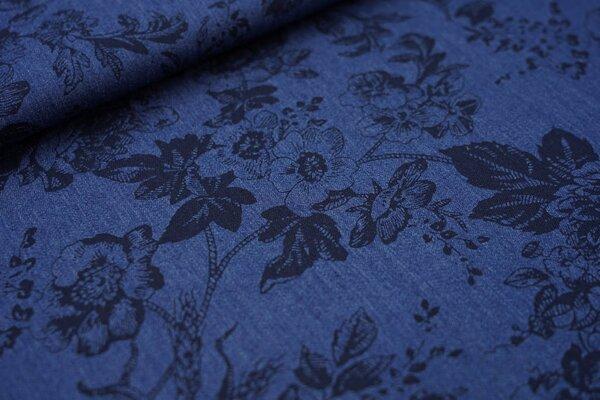 Sommer Jeans-Stoff dunkelblaues Blumen-Muster auf jeansblau