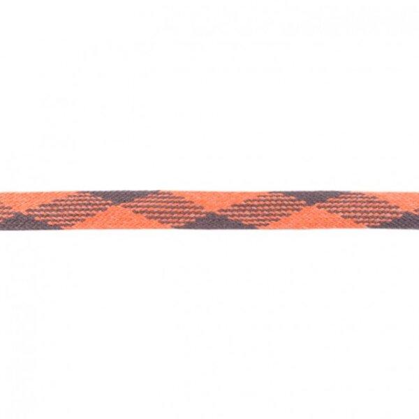 Kordel flach kariert lachs / grau 20 mm breit