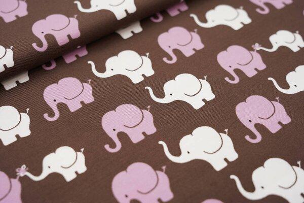 Baumwoll-Jersey Elefanten Parade braun / violett / weiß