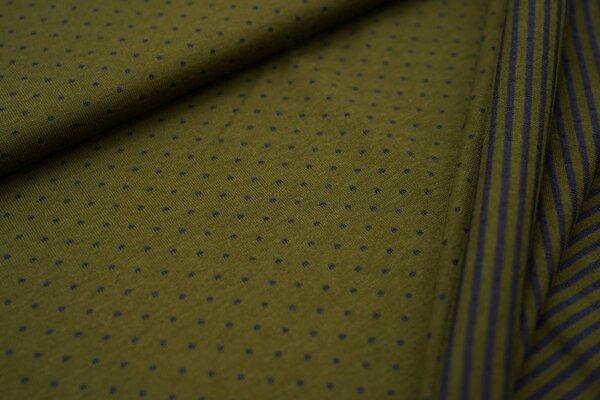Double face Jersey Punkte / Streifen in olivgrün / dunkelblau
