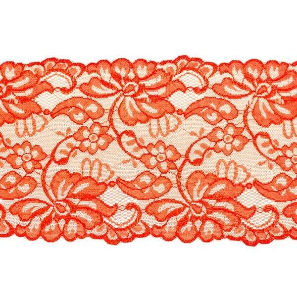 Elastische breite Spitze mit Blumen-Muster rot 155 mm Spitzenbordüre