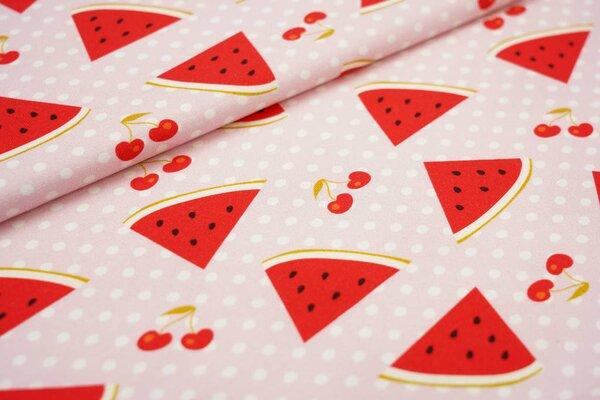 Baumwoll-Jersey Digitaldruck Wassermelonen Kirschen und Punkte auf rosa
