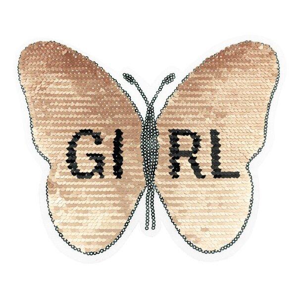 Applikation Schmetterling mit GIRL Schriftzug altrosa Wendepailletten Aufnäher