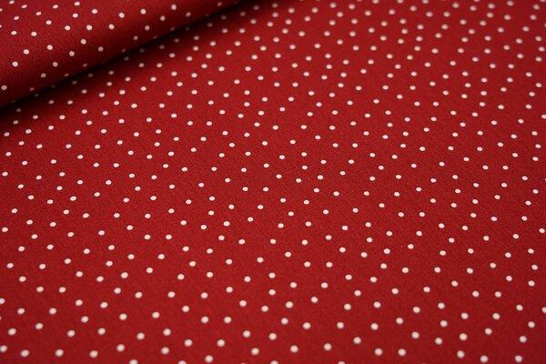Baumwoll-Stoff kleine weiße Punkte auf dunkelrot
