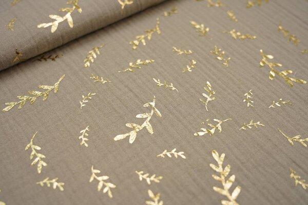 Musselin Stoff Double Gauze kiesel beige mit goldenen Zweigen