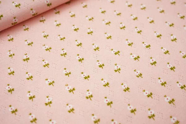 Feinstrick-Jersey mit Lochmuster kleine Blumen auf lachs
