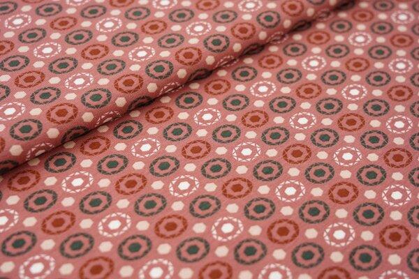 Baumwoll-Jersey Kreis Punkte Muster auf rotbraun