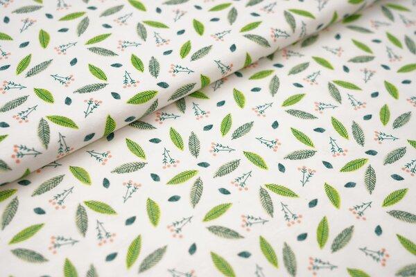 Baumwoll-Jersey Blätter und Zweige weiß / grün / apricot