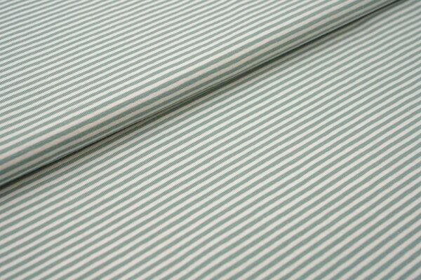 Baumwoll-Jersey Streifen Ringel creme offe white / altmint