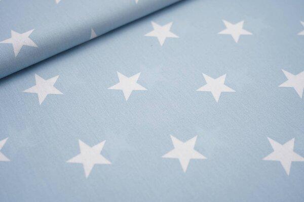 Baumwollstoff Baumwolle hellblau mit sehr großen weißen Sternen