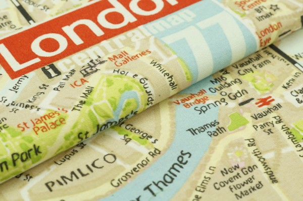 Dekostoff Canvas London Map UK England Karte Stadtplan beige bunt