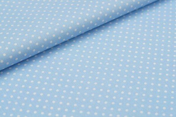 Baumwollstoff Baumwolle kleine Punkte hellblau / weiß