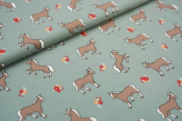 Baumwoll-Jersey braune Pferde und Blumen auf altgrün