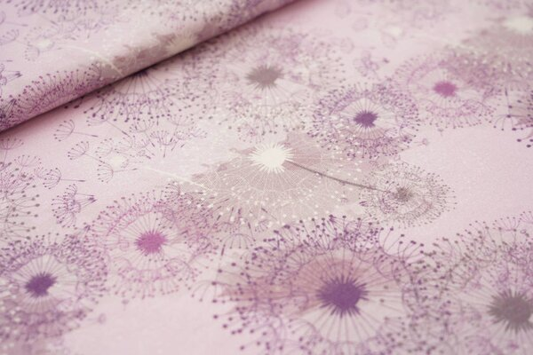 Baumwoll-Jersey Digitaldruck Pusteblumen hell violett / lila / grau / weiß