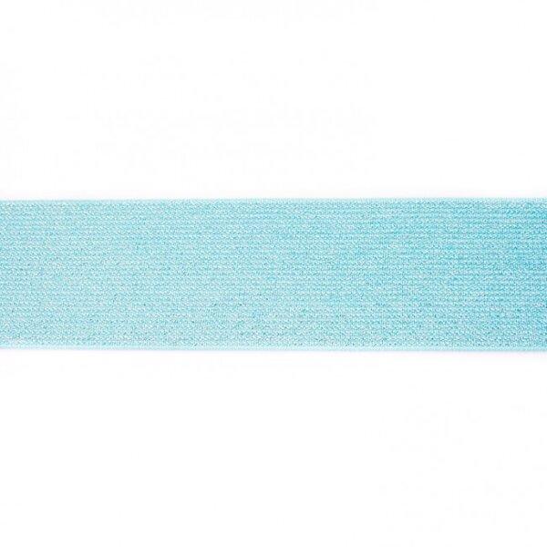 Breites Gummiband mit silber Glitzer mint 50 mm