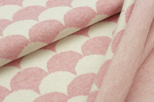 Jacquard-Sweat Mia Wellen pastell pink Melange und off white