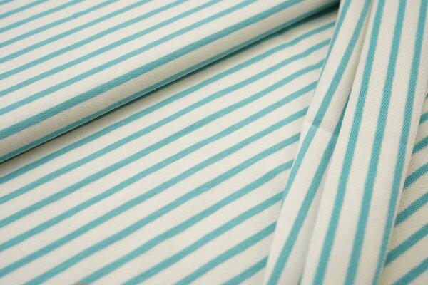 Traumbeere XXL Baumwoll-Sweat Marie Streifen Ringel schmal eisblau und off white