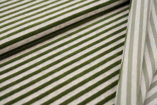 Nickistoff Streifen Ringel olivgrün / hellgrau meliert
