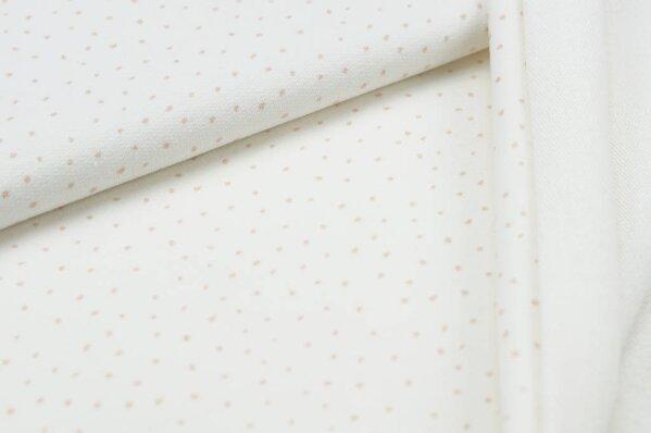 Baumwoll-Sweat Punkte Digitaldruck kleine Pünktchen off white / puder rosa